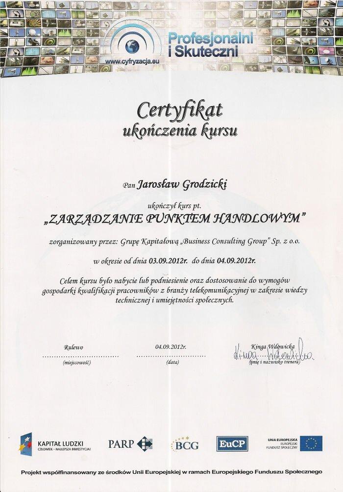"""Certyfikat zakończenia kursu """"Zarządzanie Punktem Handlowym"""" Makrosat z Torunia"""