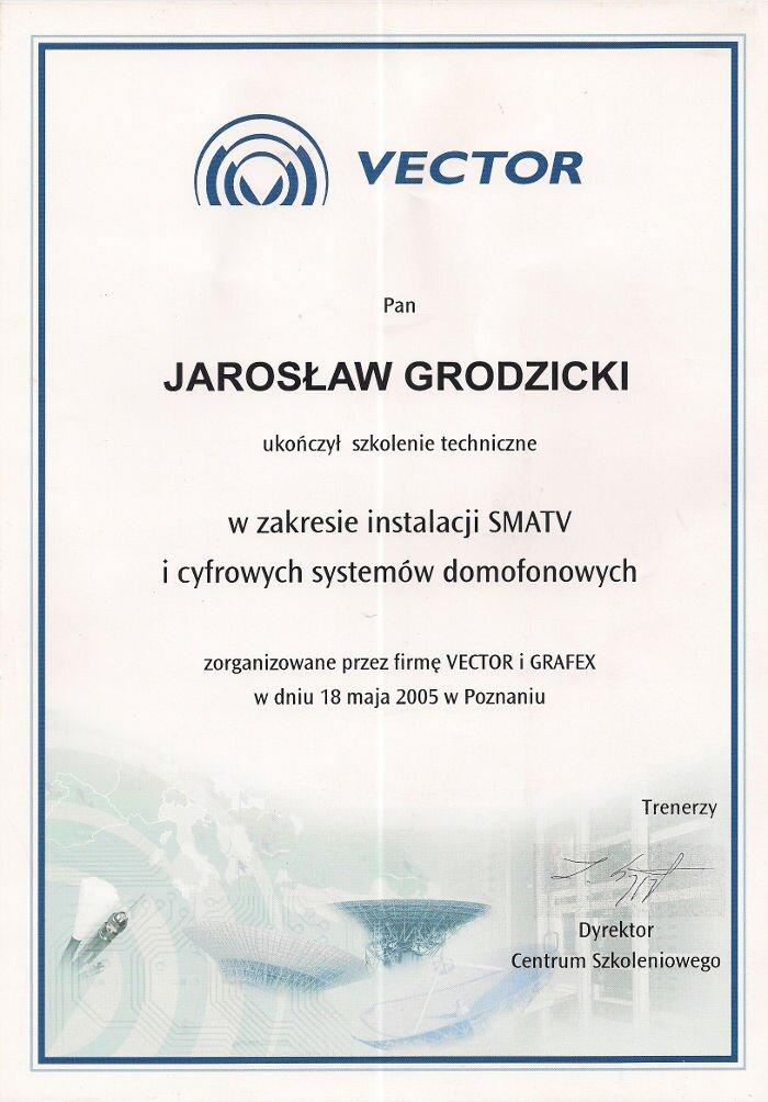 Certyfikat zakończenia szkolenia instalacje SMATV i domofonów cyfrowych Makrosat z Torunia