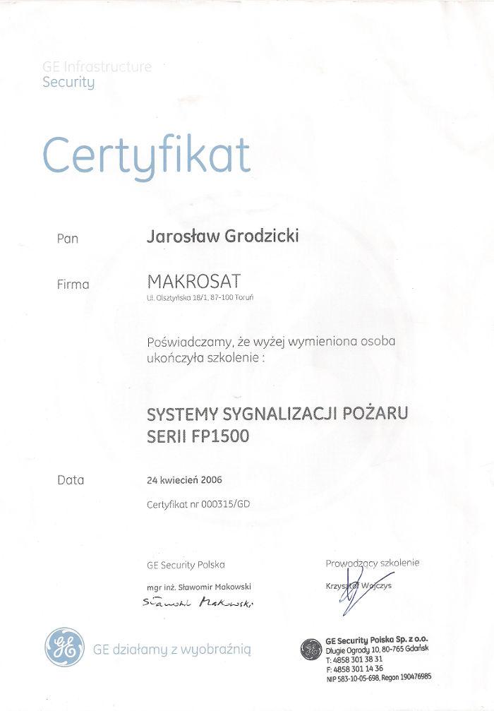 Certyfikat zakończenia szkolenia Systemy Sygnalizacji Pożaru Makrosat z Torunia