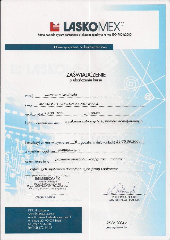 Certyfikat zakończenia szkolenia montażu cyfrowych systemów domofonowych Makrosat z Torunia