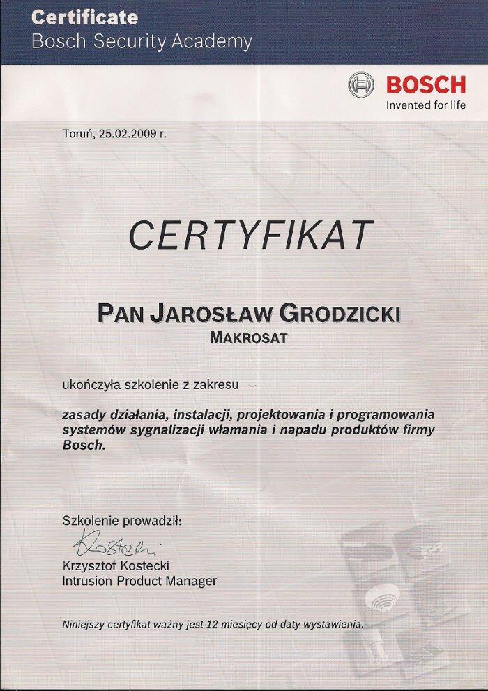 Certyfikat zakończenia szkolenia instalacje systemów alarmowych BOSH Makrosat z Torunia