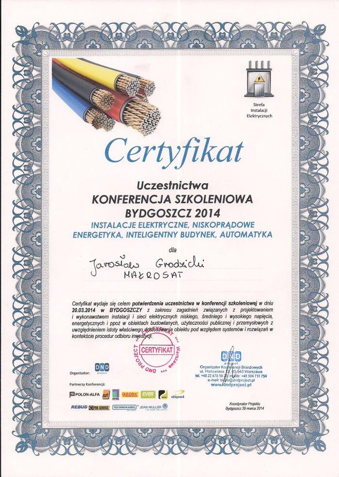 Certyfikat zakończenia szkolenia instalacje instalacji elektrycznych Makrosat z Torunia