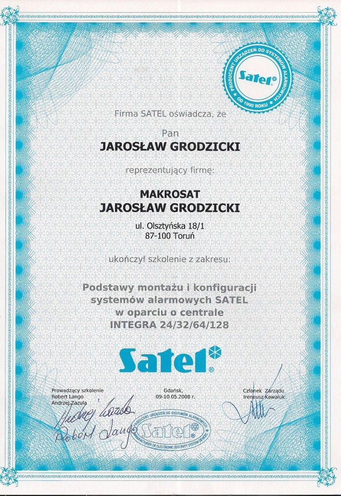 Certyfikat zakończenia szkolenia instalacje alarmowe Satel Makrosat z Torunia